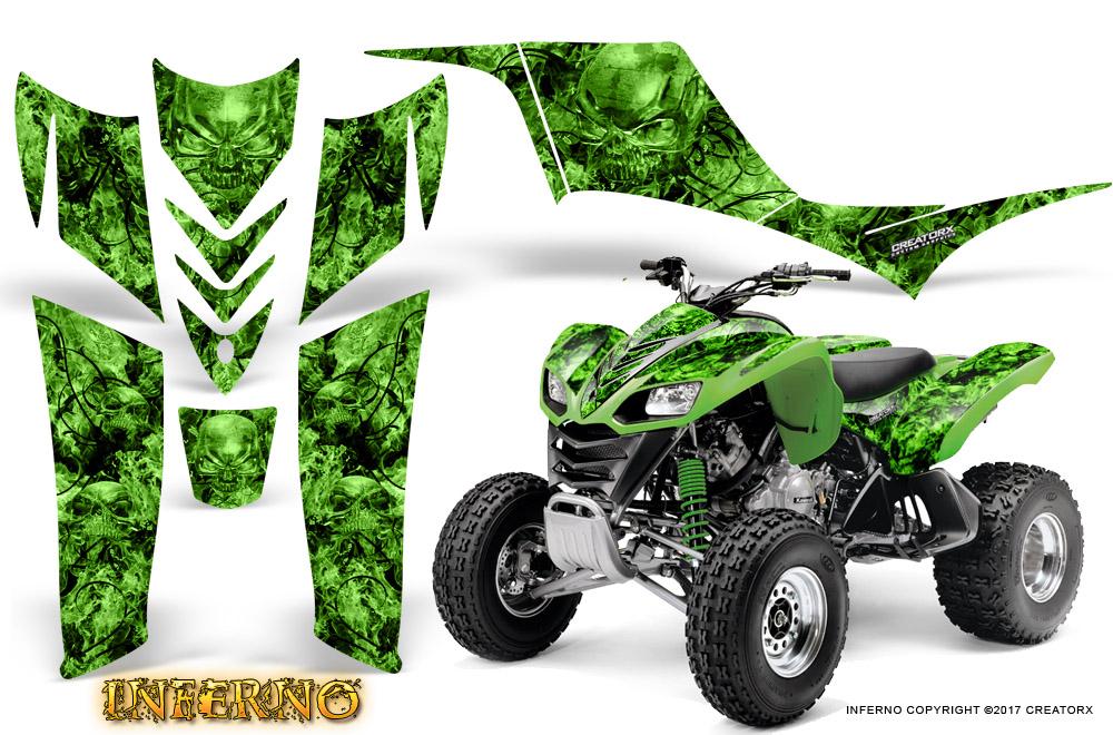 kawasaki kfx 700 graphics kit creatorx decals inferno green. Black Bedroom Furniture Sets. Home Design Ideas