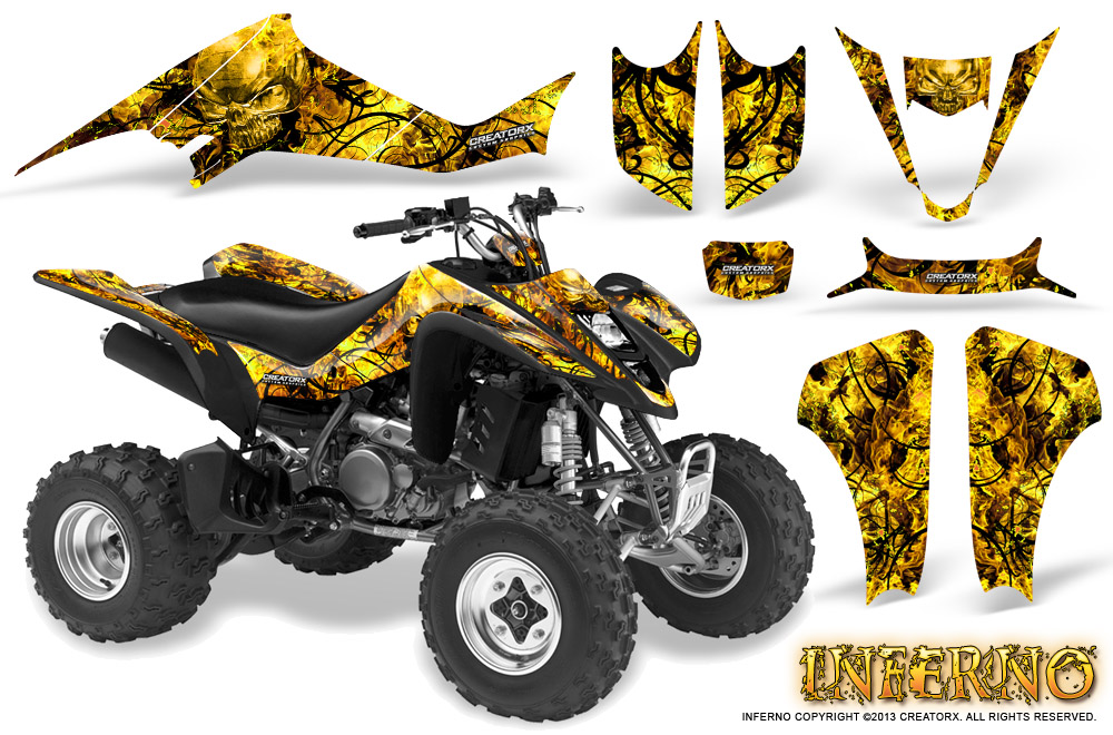 suzuki ltz 400 kawasaki kfx 400 03 08 graphics kit creatorx decals inferno yb. Black Bedroom Furniture Sets. Home Design Ideas