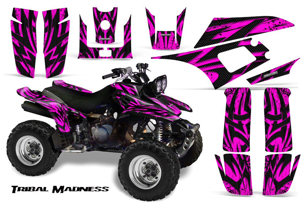 Yamaha Warrior Graphics Kit Tribal Madness Pink on Yamaha Warrior 350 Racing