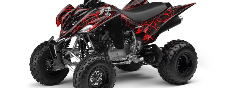 Yamaha Raptor 350 CREATORX Graphics Kit Samurai Red Black