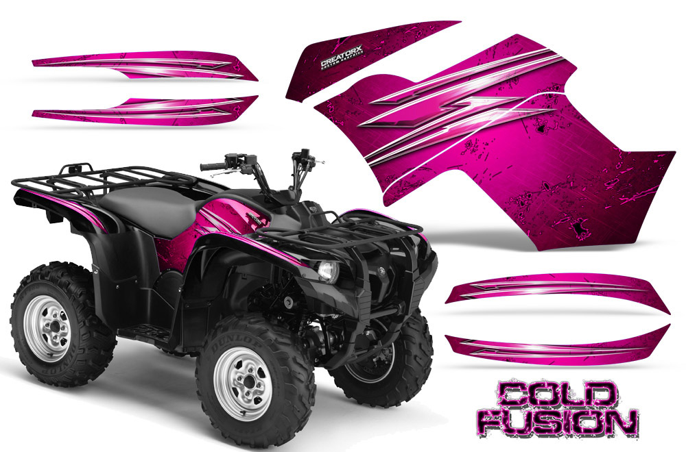 YAMAHA GRIZZLY 700 550 GRAPHICS KIT CREATORX DECALS STICKERS COLD FUSION PINK