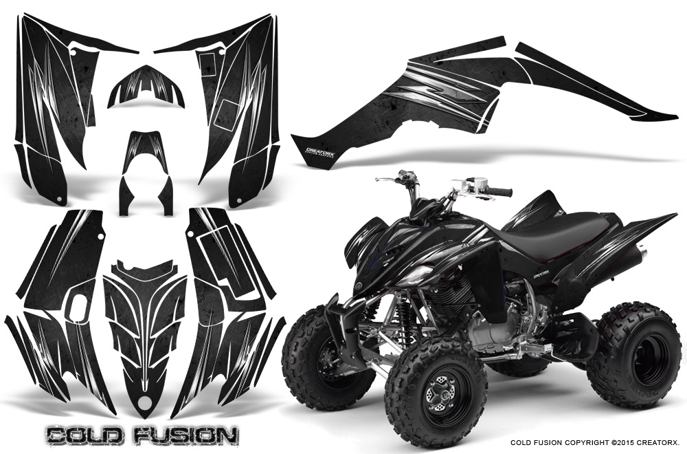YAMAHA RAPTOR 350 GRAPHICS KIT CREATORX DECALS STICKERS COLD FUSION ...