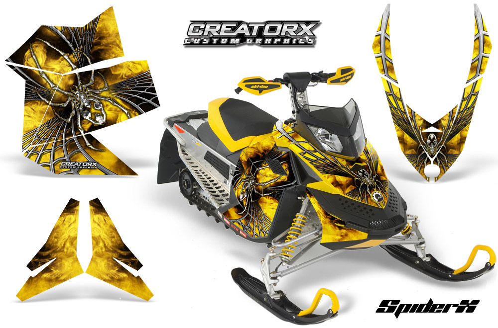 Ski Doo Rev XP Snowmobile Sled Graphics Kit Wrap Decals Creatorx Spiderx Sxyyb