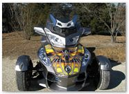 Can-Am Spyder CreatorX Graphics Kit SpiderX Yellow on Silver 01