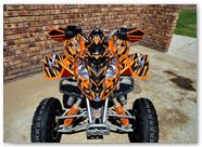 Polaris Predator 500 CREATORX Graphics Kit Bolt Thrower Orange 4