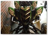 Yamaha Raptor 350 CreatorX Graphics Fire Blade Black Green 003