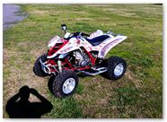 Yamaha Raptor 350 CreatorX Graphics SpiderX Red White 001