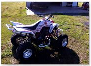 Yamaha Raptor 350 CreatorX Graphics SpiderX Red White 004