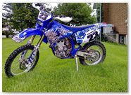 Yamaha WR450 2003 2004 CreatorX Graphics Fire Blade White Blue 001