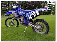 Yamaha WR450 2003 2004 CreatorX Graphics Fire Blade White Blue 002