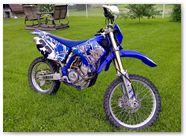 Yamaha WR450 2003 2004 CreatorX Graphics Fire Blade White Blue 003