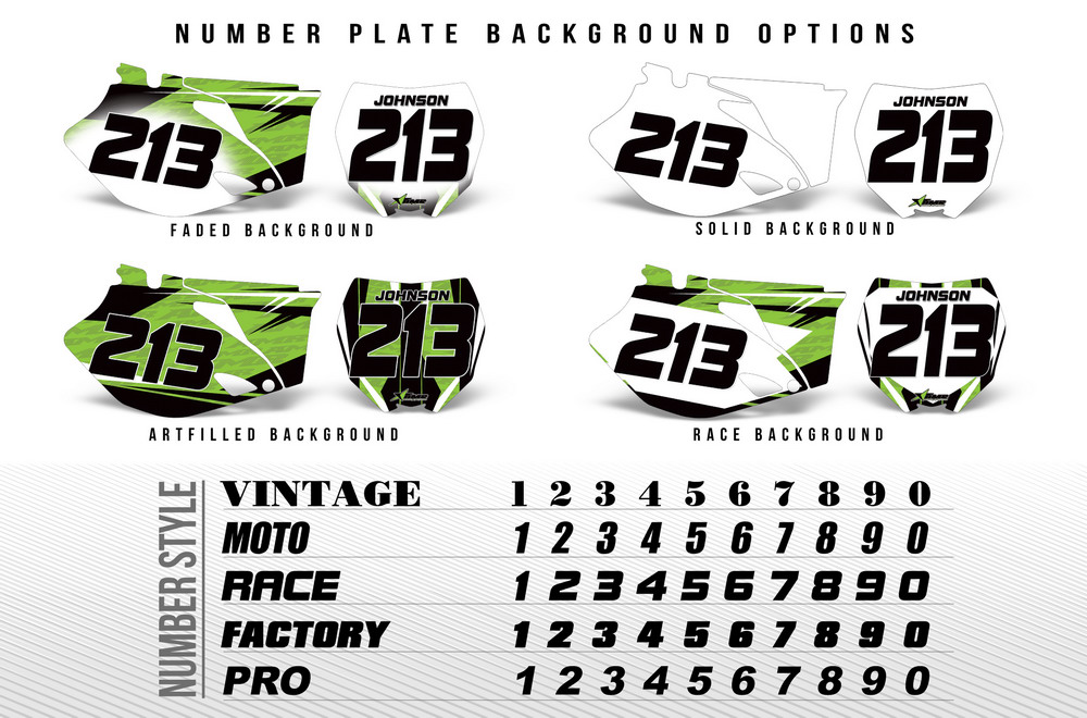 Number Plate Graphic Backgrounds for Honda, KTM, Suzuki, Yamaha