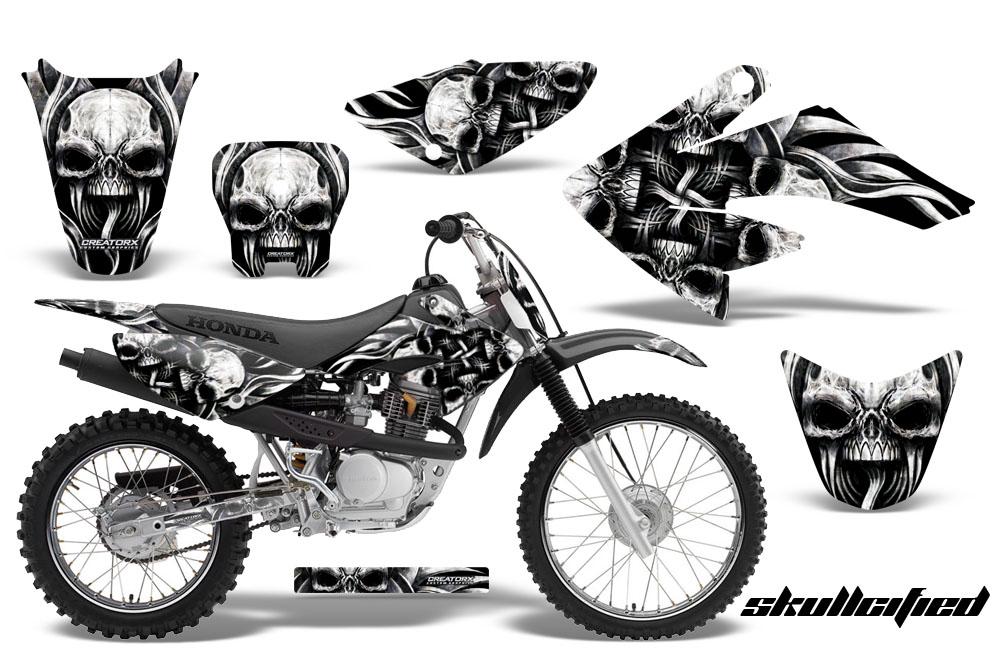Large Crf Graphics Kit Skullcified Silver Black on Honda Xr History