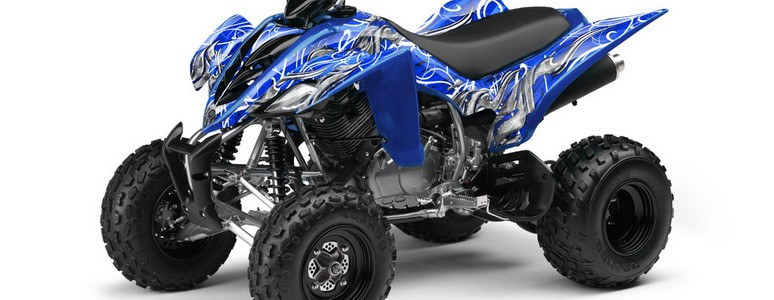 Yamaha Raptor 350 CREATORX Graphics Kit Fire Blade White Blue